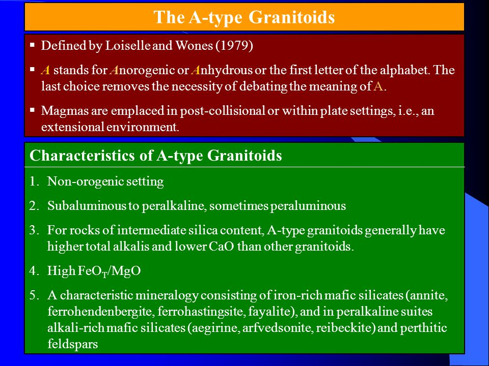 The A-type Granitoids  Defined by Loiselle and Wones (1979)  A stands for Anorogenic or Anhydrous or the first letter of the alphabet. The last choi