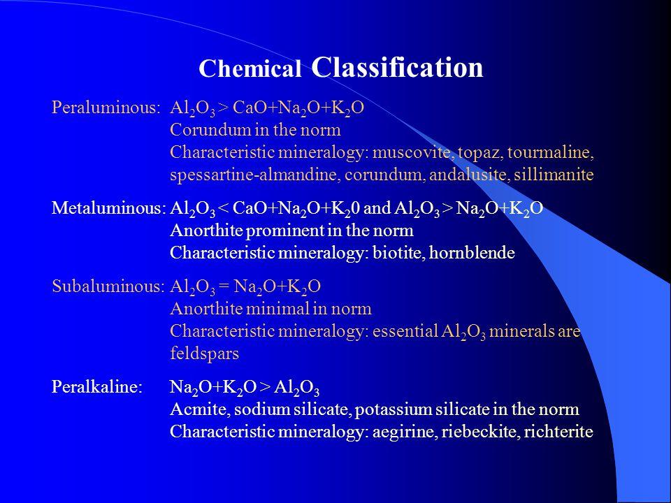 Chemical Classification Peraluminous:Al 2 O 3 > CaO+Na 2 O+K 2 O Corundum in the norm Characteristic mineralogy: muscovite, topaz, tourmaline, spessar