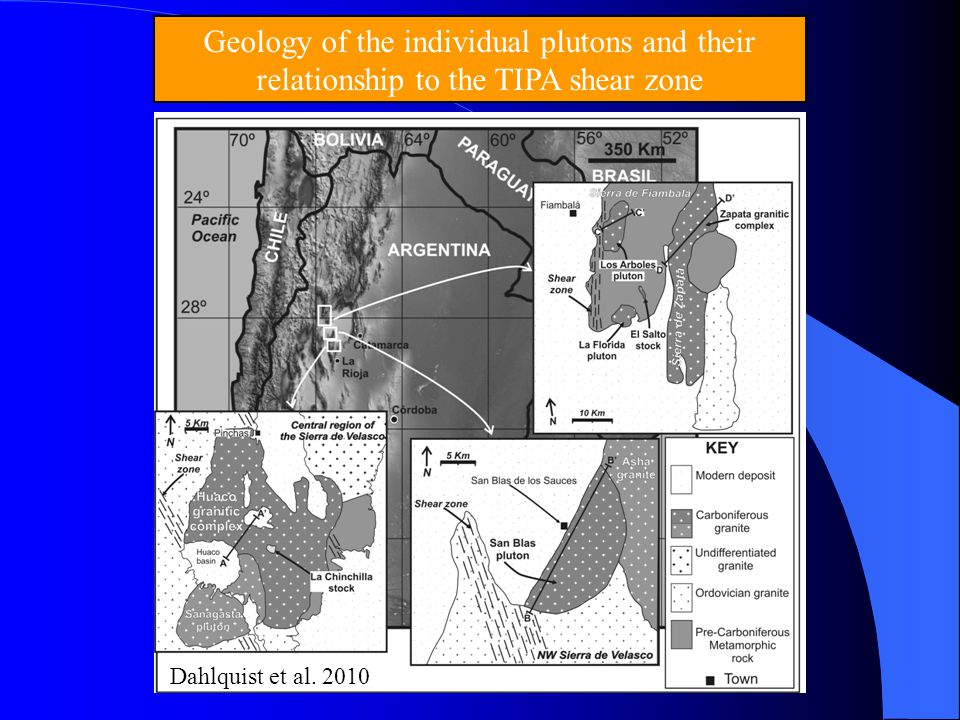 Geology of the individual plutons and their relationship to the TIPA shear zone Dahlquist et al. 2010