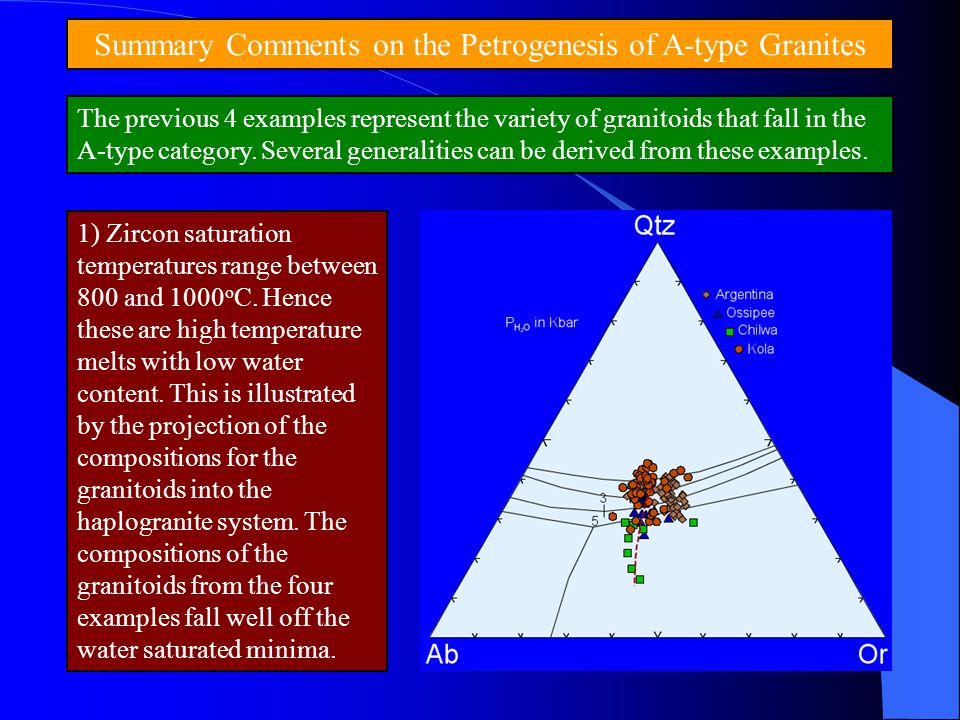 Summary Comments on the Petrogenesis of A-type Granites The previous 4 examples represent the variety of granitoids that fall in the A-type category.