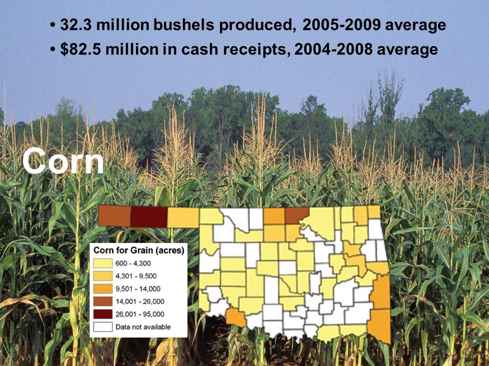 32.3 million bushels produced, 2005-2009 average $82.5 million in cash receipts, 2004-2008 average Corn