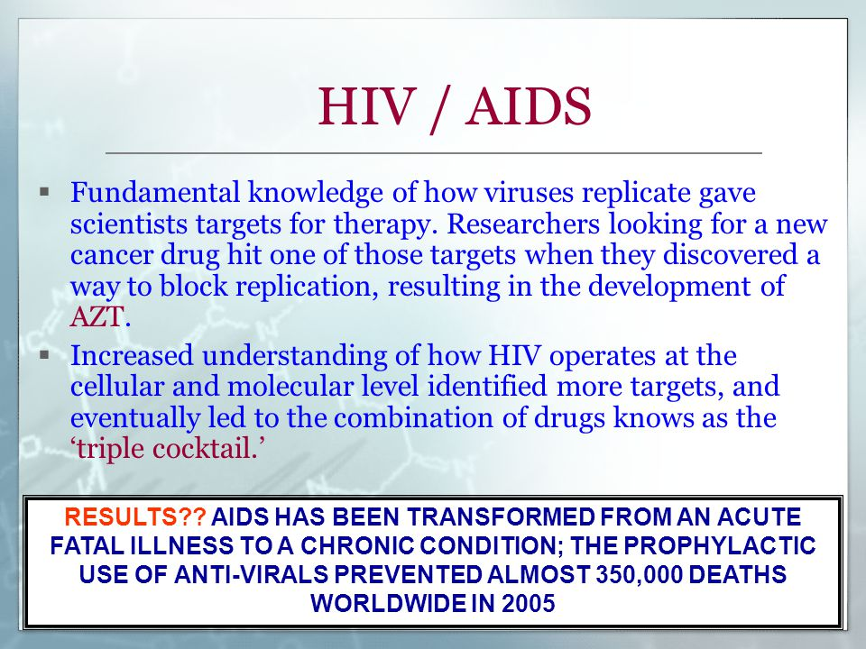 HIV / AIDS  Fundamental knowledge of how viruses replicate gave scientists targets for therapy. Researchers looking for a new cancer drug hit one of
