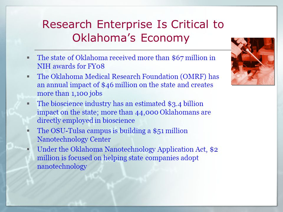 Research Enterprise Is Critical to Oklahoma's Economy  The state of Oklahoma received more than $67 million in NIH awards for FY08  The Oklahoma Medical Research Foundation (OMRF) has an annual impact of $46 million on the state and creates more than 1,100 jobs  The bioscience industry has an estimated $3.4 billion impact on the state; more than 44,000 Oklahomans are directly employed in bioscience  The OSU-Tulsa campus is building a $51 million Nanotechnology Center  Under the Oklahoma Nanotechnology Application Act, $2 million is focused on helping state companies adopt nanotechnology