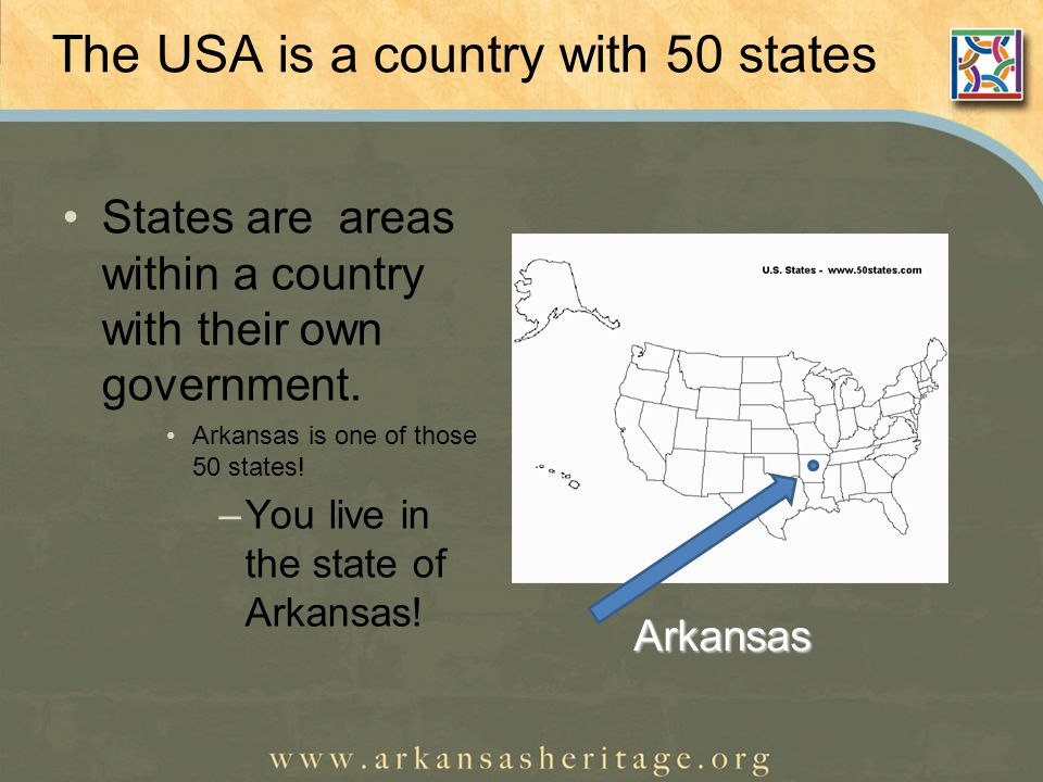 The USA is a country with 50 states States are areas within a country with their own government.