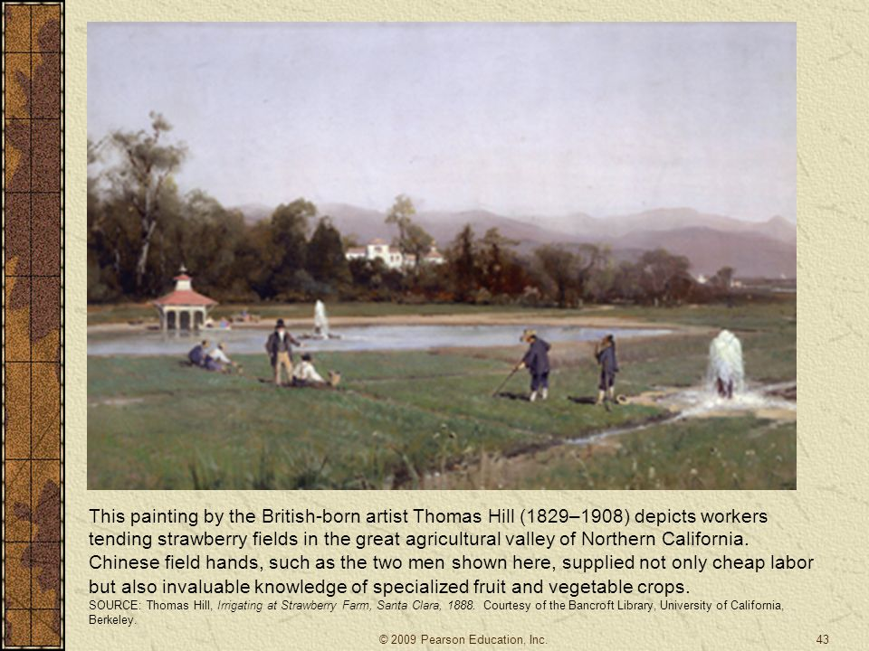 This painting by the British-born artist Thomas Hill (1829–1908) depicts workers tending strawberry fields in the great agricultural valley of Norther