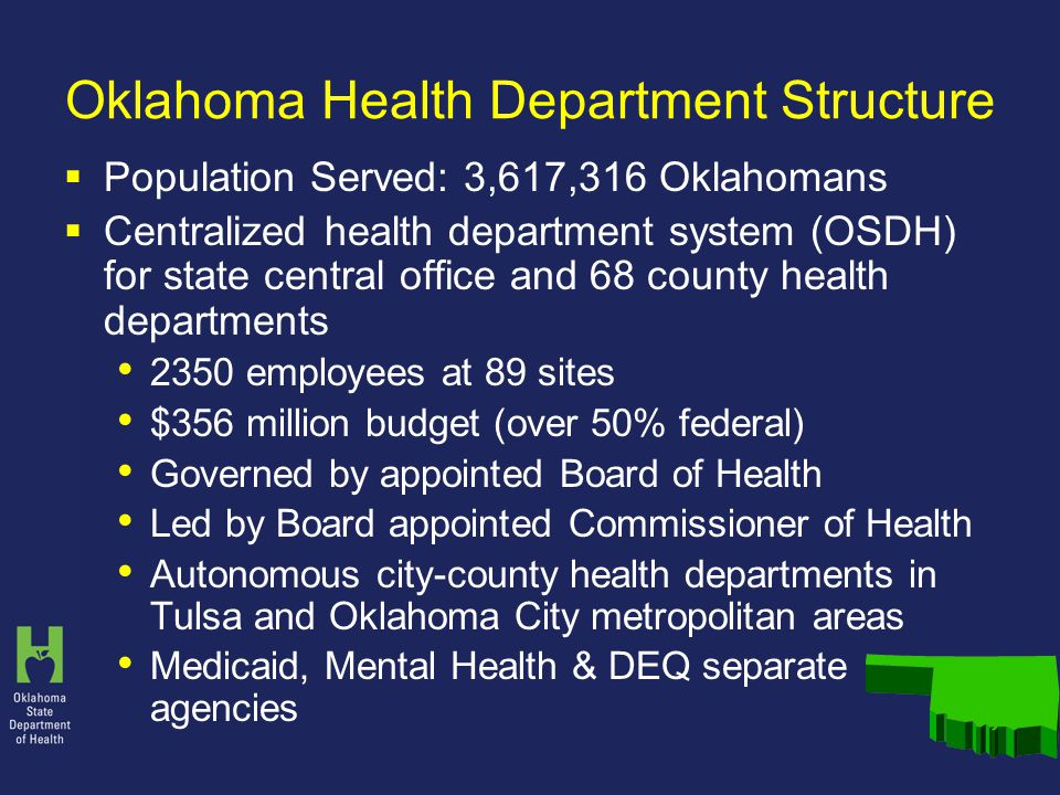 Oklahoma Health Department Structure  Population Served: 3,617,316 Oklahomans  Centralized health department system (OSDH) for state central office and 68 county health departments 2350 employees at 89 sites $356 million budget (over 50% federal) Governed by appointed Board of Health Led by Board appointed Commissioner of Health Autonomous city-county health departments in Tulsa and Oklahoma City metropolitan areas Medicaid, Mental Health & DEQ separate agencies