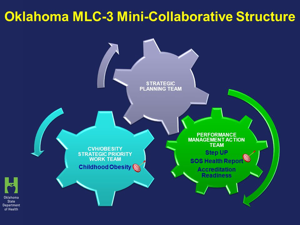 Oklahoma MLC-3 Mini-Collaborative Structure PERFORMANCE MANAGEMENT ACTION TEAM Step UP SOS Health Report Accreditation Readiness CVH/OBESITY STRATEGIC