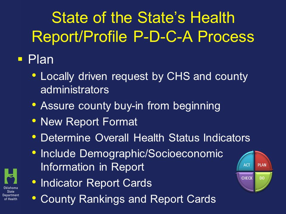 State of the State's Health Report/Profile P-D-C-A Process  Plan Locally driven request by CHS and county administrators Assure county buy-in from beginning New Report Format Determine Overall Health Status Indicators Include Demographic/Socioeconomic Information in Report Indicator Report Cards County Rankings and Report Cards