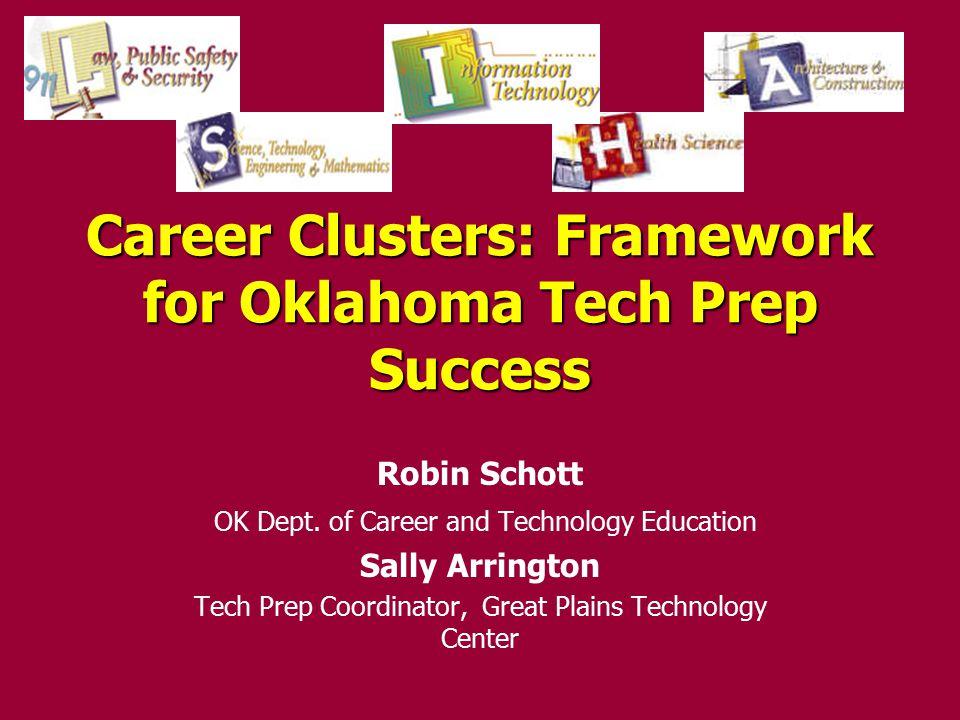 Career Clusters: Framework for Oklahoma Tech Prep Success Robin Schott OK Dept.