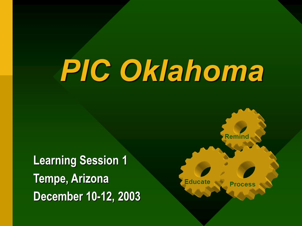 PIC Oklahoma PIC Oklahoma Learning Session 1 Tempe, Arizona December 10-12, 2003 Educate Process Remind