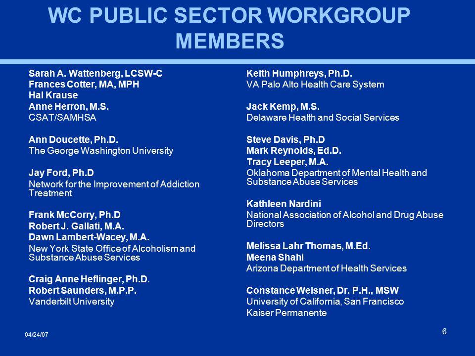 04/24/07 6 Sarah A. Wattenberg, LCSW-C Frances Cotter, MA, MPH Hal Krause Anne Herron, M.S. CSAT/SAMHSA Ann Doucette, Ph.D. The George Washington Univ