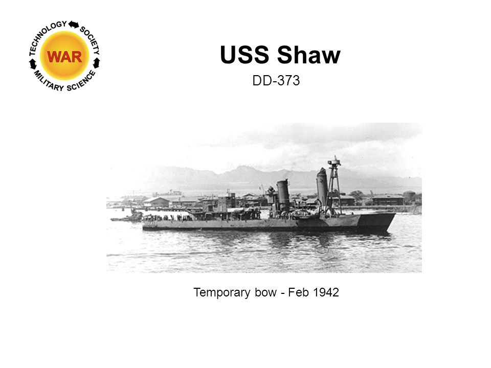USS Shaw DD-373 Temporary bow - Feb 1942