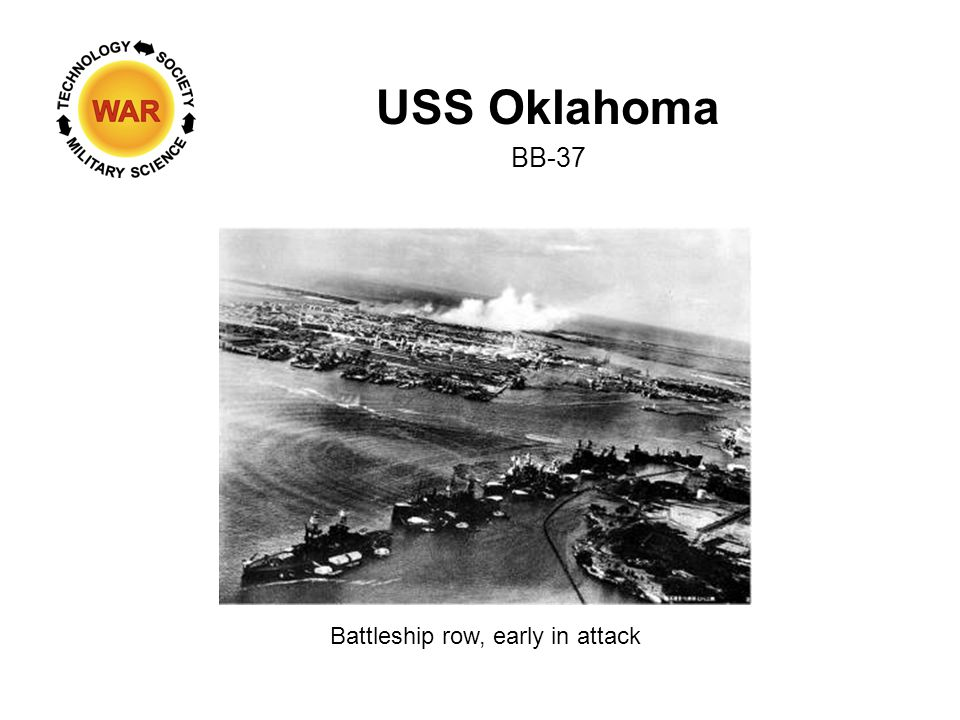 USS Oklahoma BB-37 Battleship row, early in attack