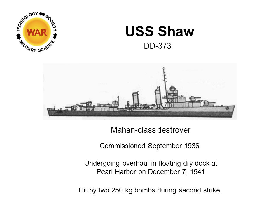 USS Shaw DD-373 Mahan-class destroyer Commissioned September 1936 Undergoing overhaul in floating dry dock at Pearl Harbor on December 7, 1941 Hit by two 250 kg bombs during second strike