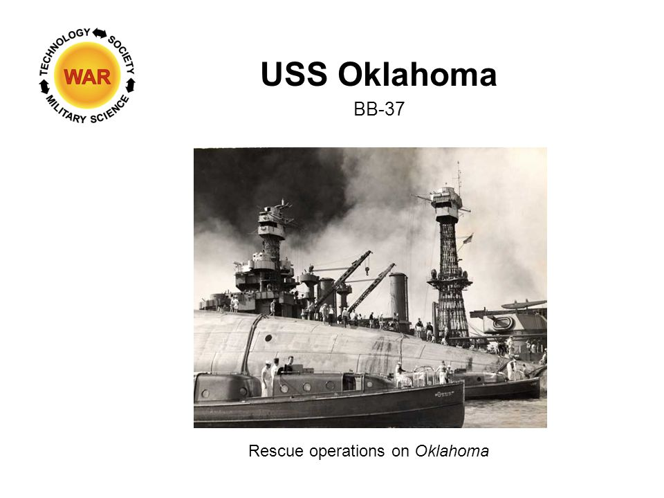 USS Oklahoma BB-37 Rescue operations on Oklahoma