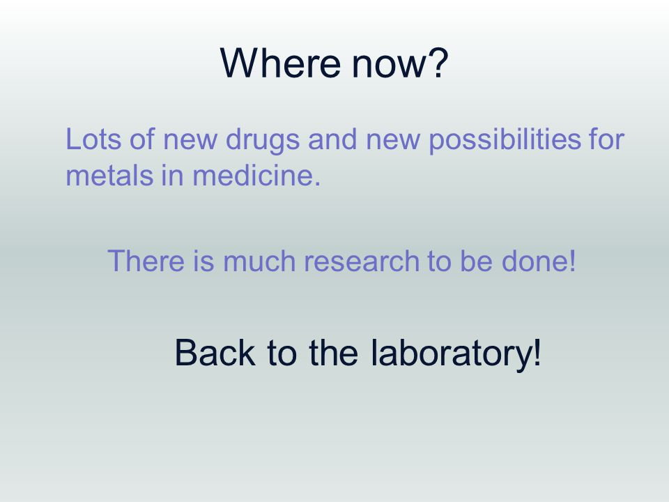 Where now. Lots of new drugs and new possibilities for metals in medicine.