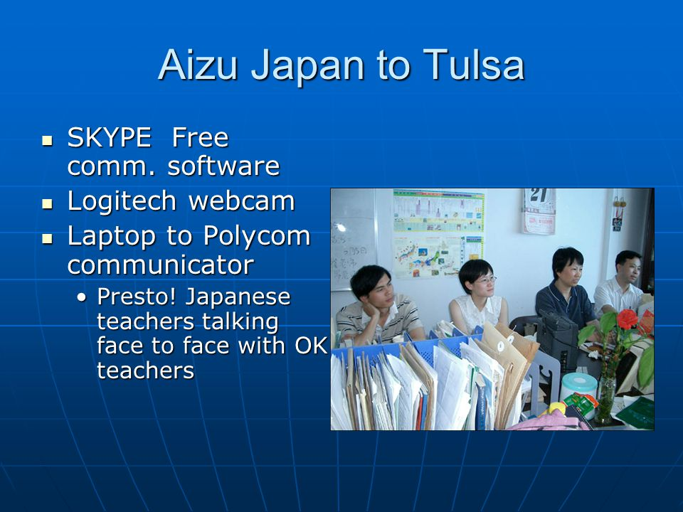 Aizu Japan to Tulsa SKYPE Free comm. software SKYPE Free comm.