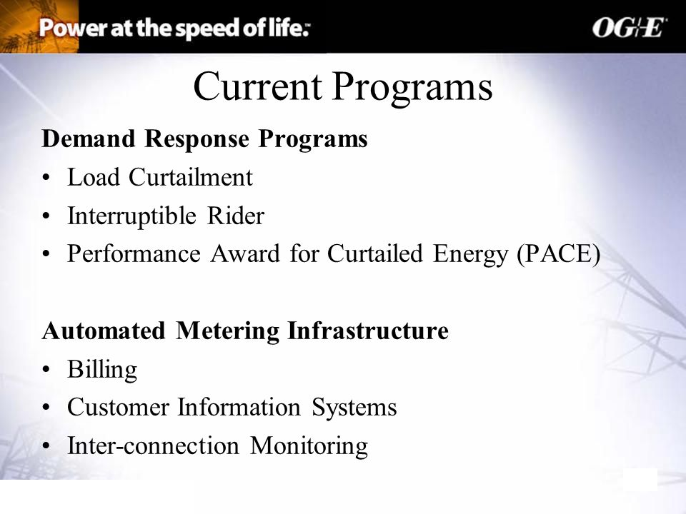 Current Programs Demand Response Programs Load Curtailment Interruptible Rider Performance Award for Curtailed Energy (PACE) Automated Metering Infrastructure Billing Customer Information Systems Inter-connection Monitoring