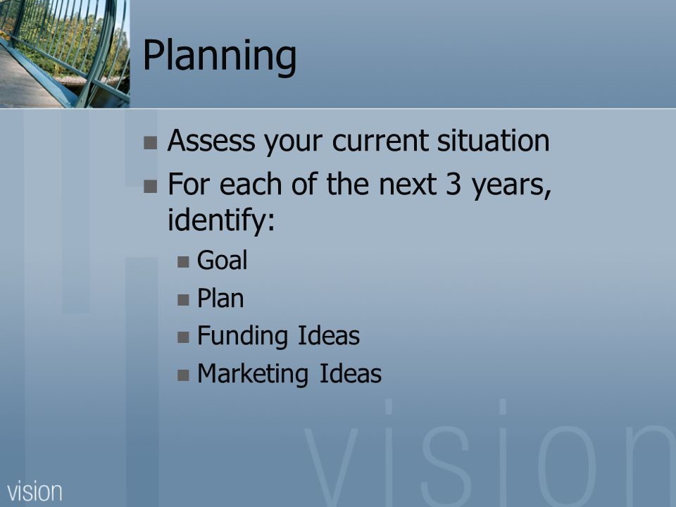 Planning Assess your current situation For each of the next 3 years, identify: Goal Plan Funding Ideas Marketing Ideas
