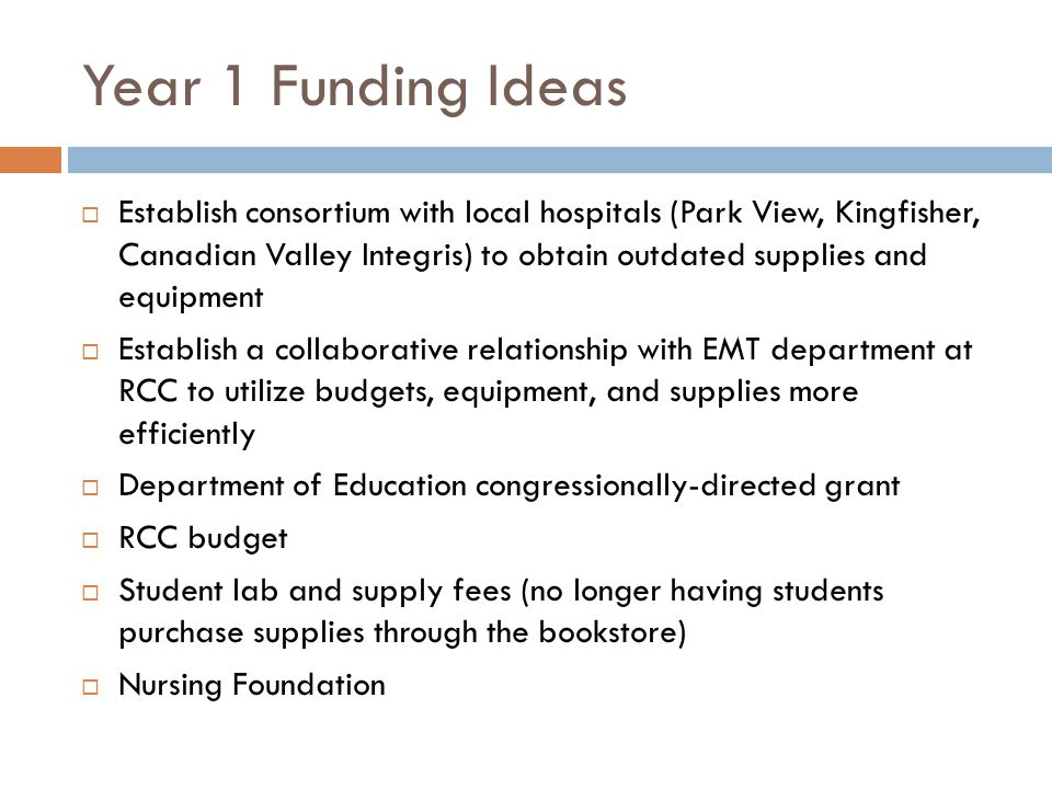 Year 1 Funding Ideas  Establish consortium with local hospitals (Park View, Kingfisher, Canadian Valley Integris) to obtain outdated supplies and equ