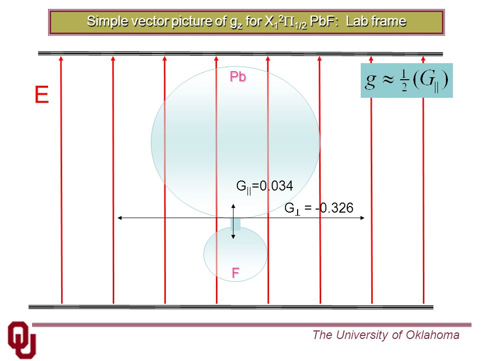 The University of OklahomaPbF G || =0.034 G  = -0.326 Simple vector picture of g z for X 1 2  1/2 PbF: Lab frame E