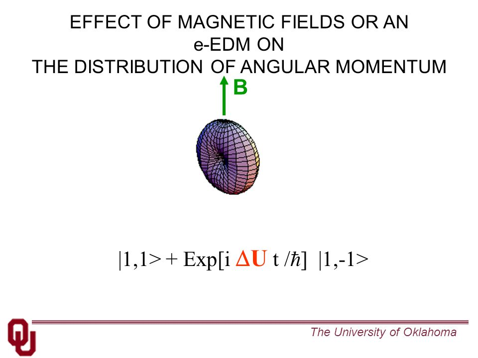 The University of Oklahoma EFFECT OF MAGNETIC FIELDS OR AN e-EDM ON THE DISTRIBUTION OF ANGULAR MOMENTUM |1,1> + Exp[i  U t /  ] |1,-1> B