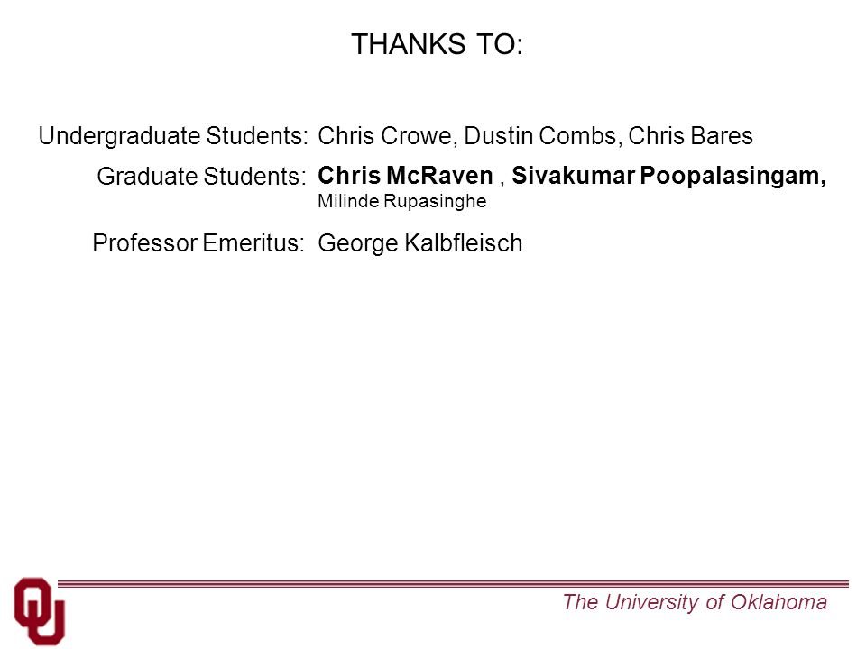The University of Oklahoma THANKS TO: Chris McRaven, Sivakumar Poopalasingam, Milinde Rupasinghe Graduate Students: Chris Crowe, Dustin Combs, Chris Bares Undergraduate Students: Professor Emeritus: George Kalbfleisch