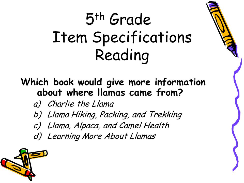 5 th Grade Item Specifications Reading Which book would give more information about where llamas came from.