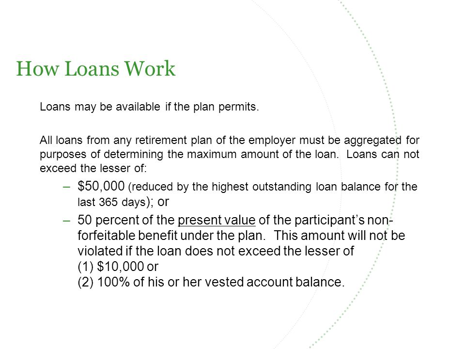 How Loans Work Loans may be available if the plan permits.