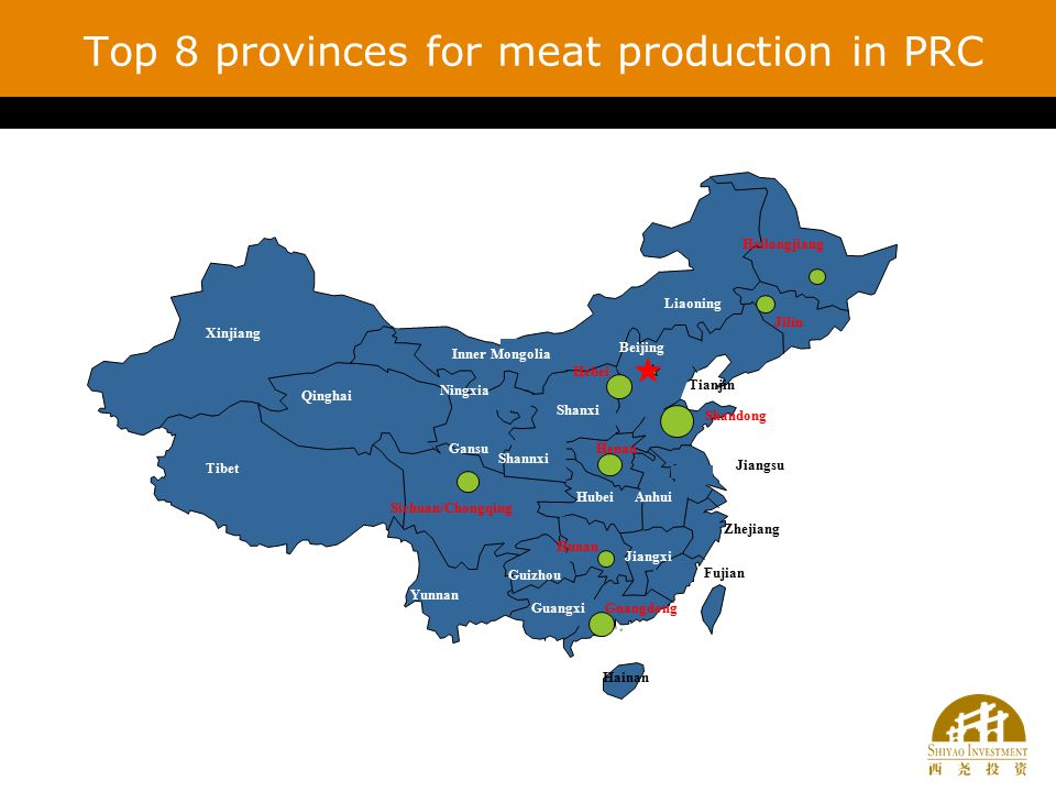 Top 8 provinces for meat production in PRC