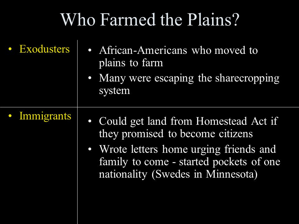 Who Farmed the Plains.