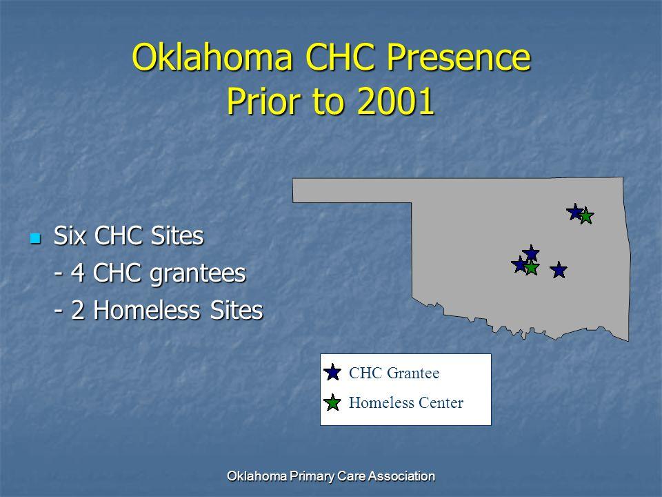 Oklahoma Primary Care Association Oklahoma CHC Presence Prior to 2001 Six CHC Sites Six CHC Sites - 4 CHC grantees - 2 Homeless Sites CHC Grantee Home