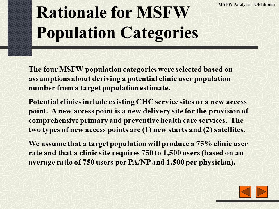 Rationale for MSFW Population Categories The four MSFW population categories were selected based on assumptions about deriving a potential clinic user population number from a target population estimate.