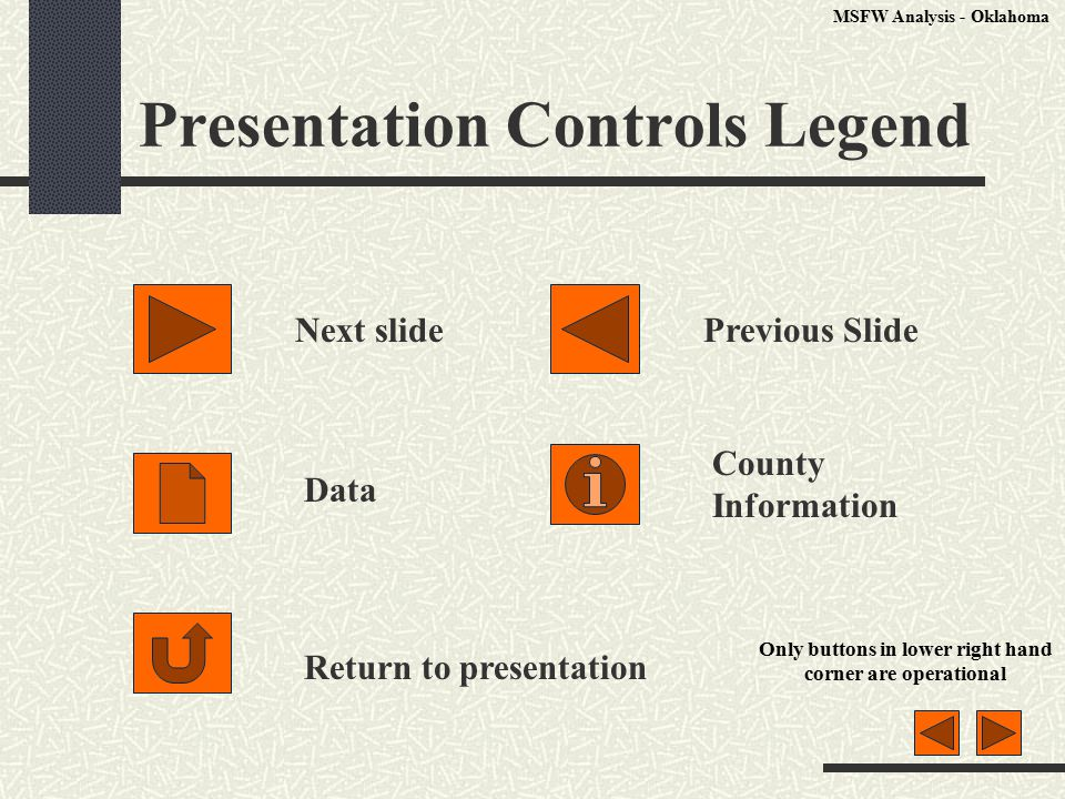 Presentation Controls Legend Next slidePrevious Slide Data County Information Return to presentation Only buttons in lower right hand corner are operational MSFW Analysis - Oklahoma