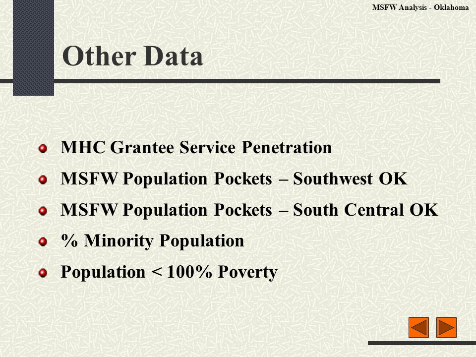 Other Data MHC Grantee Service Penetration MSFW Population Pockets – Southwest OK MSFW Population Pockets – South Central OK % Minority Population Population < 100% Poverty MSFW Analysis - Oklahoma