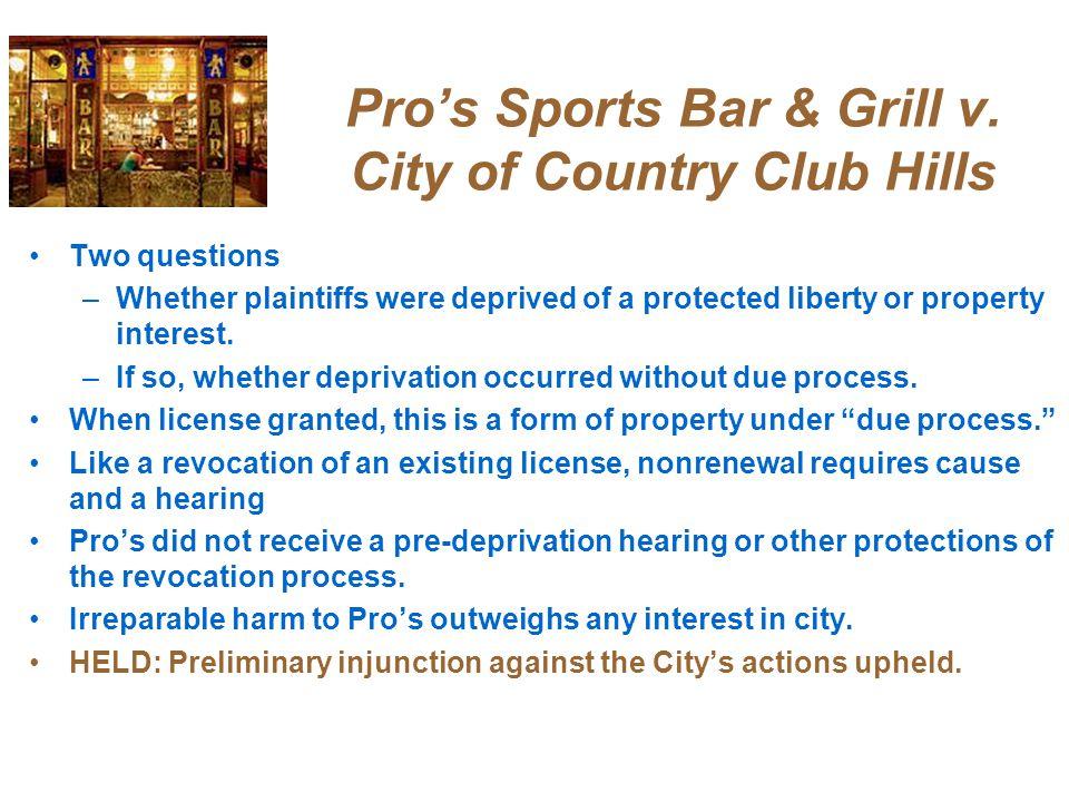 Pro's Sports Bar & Grill v.