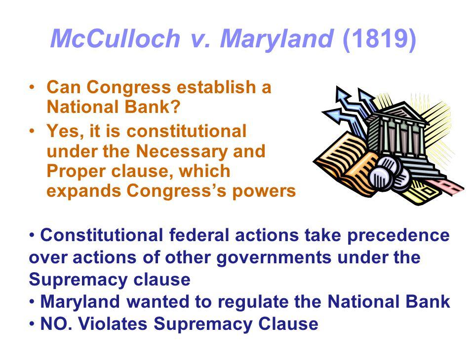 McCulloch v.Maryland (1819) Can Congress establish a National Bank.