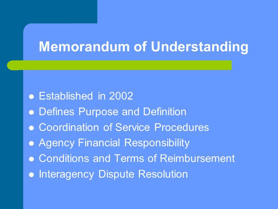 Memorandum of Understanding Established in 2002 Defines Purpose and Definition Coordination of Service Procedures Agency Financial Responsibility Cond