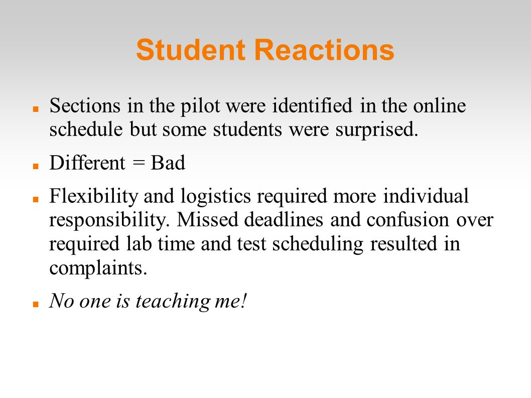Student Reactions Sections in the pilot were identified in the online schedule but some students were surprised.