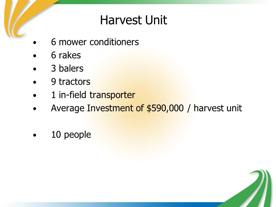 Harvest Unit 6 mower conditioners 6 rakes 3 balers 9 tractors 1 in-field transporter Average Investment of $590,000 / harvest unit 10 people