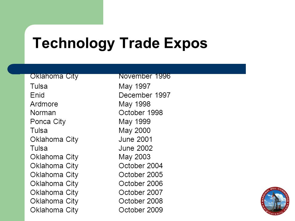 Technology Trade Expos Oklahoma CityNovember 1996 TulsaMay 1997 EnidDecember 1997 ArdmoreMay 1998 NormanOctober 1998 Ponca CityMay 1999 TulsaMay 2000