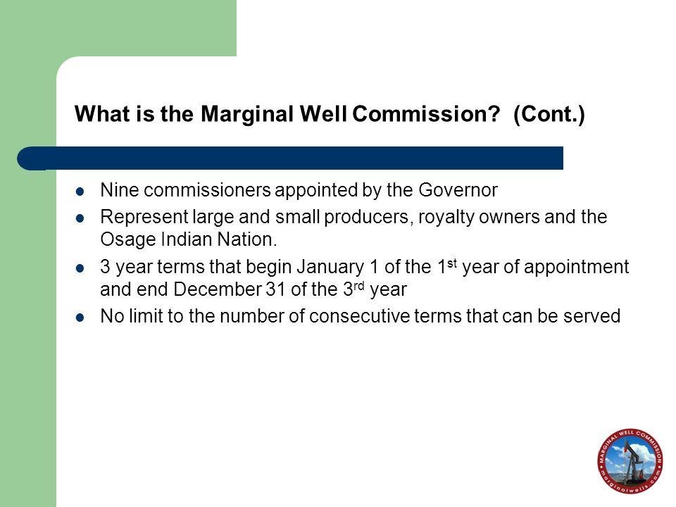 What is the Marginal Well Commission.
