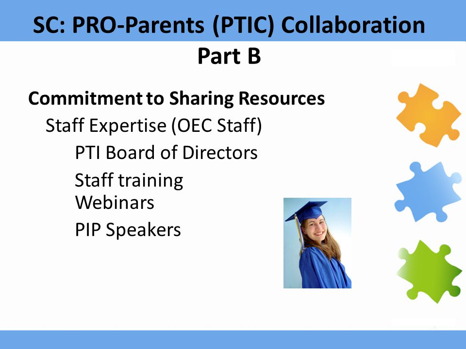 SC: PRO-Parents (PTIC) Collaboration Part B Commitment to Sharing Resources Staff Expertise (OEC Staff) PTI Board of Directors Staff training Webinars PIP Speakers