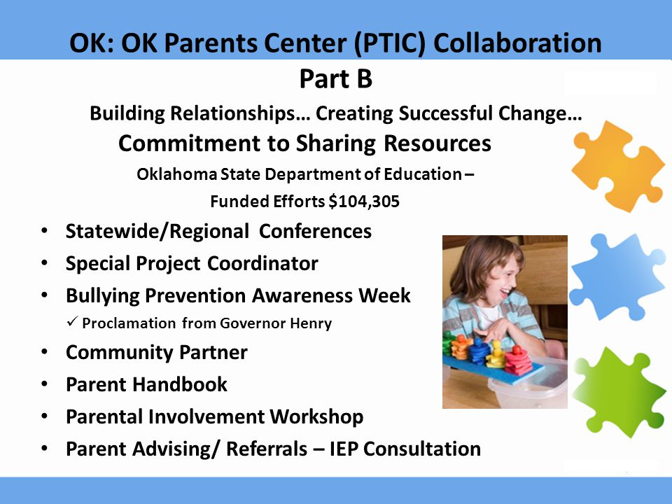 OK: OK Parents Center (PTIC) Collaboration Part B Building Relationships… Creating Successful Change… Commitment to Sharing Resources Oklahoma State D