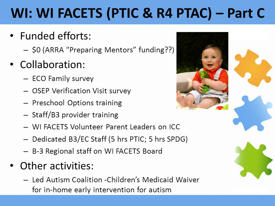 WI: WI FACETS (PTIC & R4 PTAC) – Part C Funded efforts: – $0 (ARRA Preparing Mentors funding??) Collaboration: – ECO Family survey – OSEP Verification Visit survey – Preschool Options training – Staff/B3 provider training – WI FACETS Volunteer Parent Leaders on ICC – Dedicated B3/EC Staff (5 hrs PTIC; 5 hrs SPDG) – B-3 Regional staff on WI FACETS Board Other activities: – Led Autism Coalition -Children's Medicaid Waiver for in-home early intervention for autism