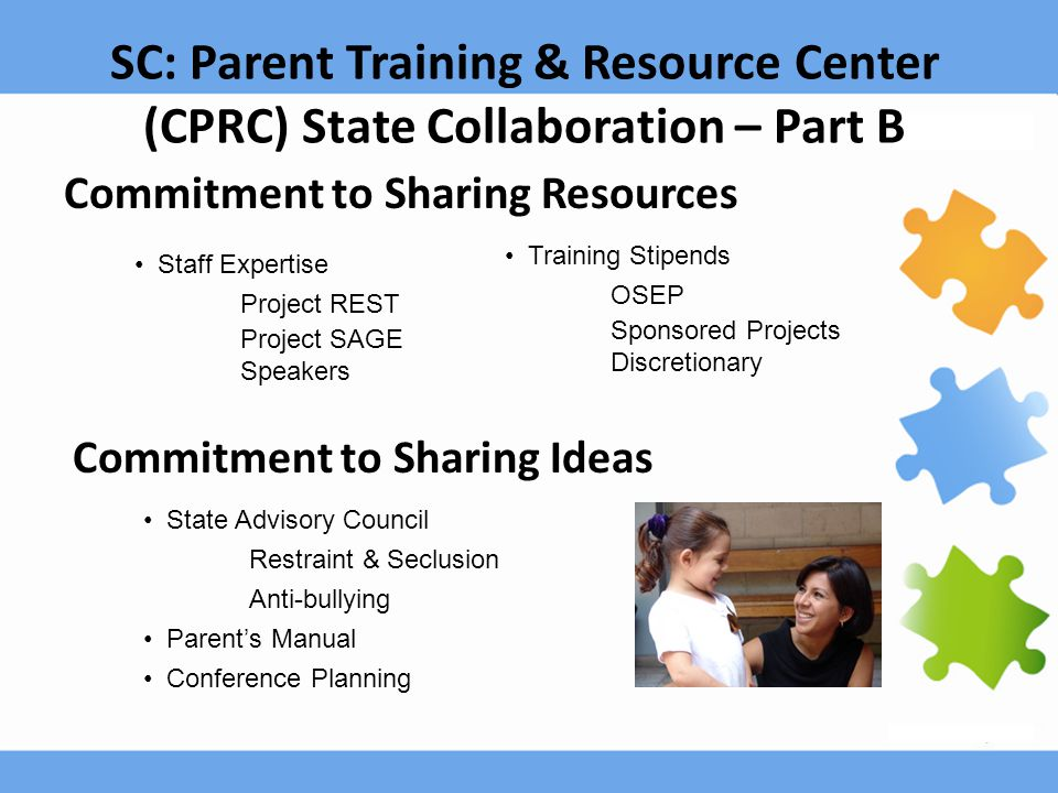 SC: Parent Training & Resource Center (CPRC) State Collaboration – Part B Commitment to Sharing Resources Staff Expertise Project REST Project SAGE Sp