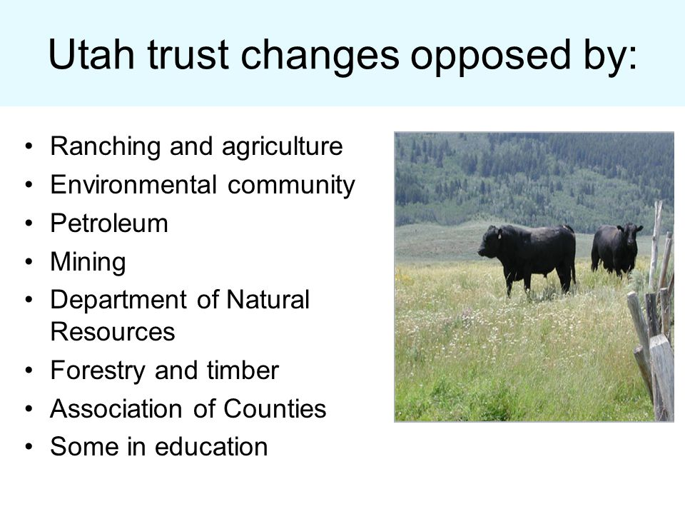 Utah trust changes opposed by: Ranching and agriculture Environmental community Petroleum Mining Department of Natural Resources Forestry and timber Association of Counties Some in education