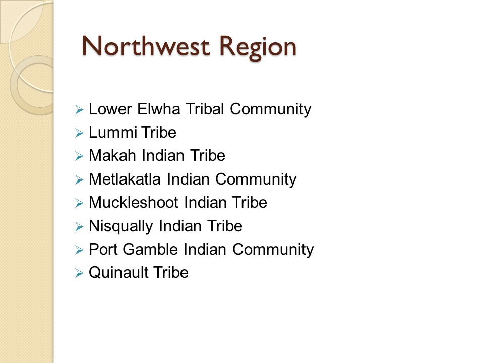 Northwest Region  Lower Elwha Tribal Community  Lummi Tribe  Makah Indian Tribe  Metlakatla Indian Community  Muckleshoot Indian Tribe  Nisqually Indian Tribe  Port Gamble Indian Community  Quinault Tribe