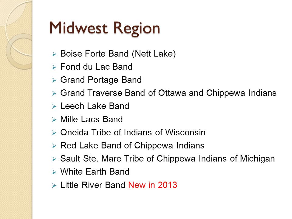 Midwest Region  Boise Forte Band (Nett Lake)  Fond du Lac Band  Grand Portage Band  Grand Traverse Band of Ottawa and Chippewa Indians  Leech Lak