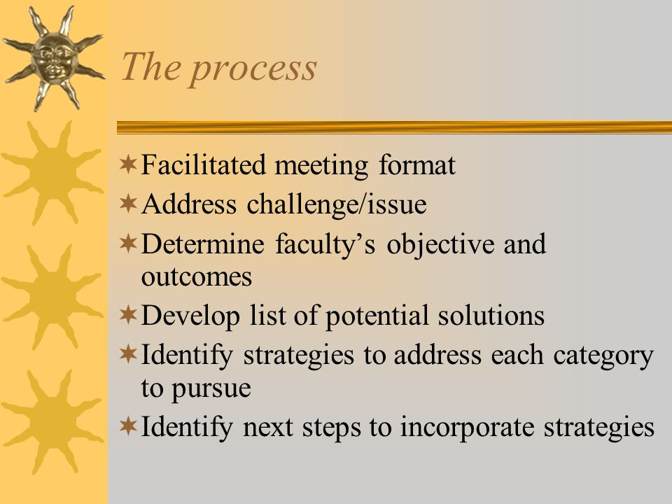 The process  Facilitated meeting format  Address challenge/issue  Determine faculty's objective and outcomes  Develop list of potential solutions  Identify strategies to address each category to pursue  Identify next steps to incorporate strategies